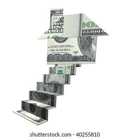 House shape money origami art illustration