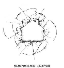 House shaped broken glass concept