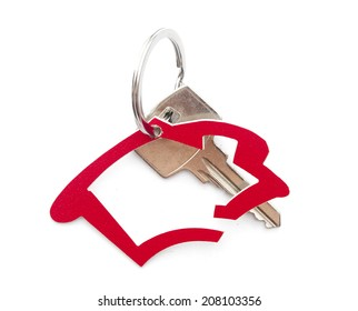 House shaped key-chain isolated on white background