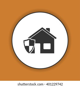 house shield  icon. Flat design style