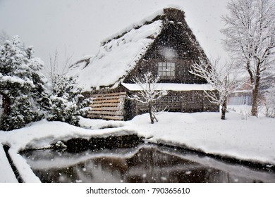 The house in Shirakawa-go village, Japan during the snow storm