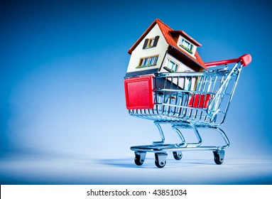 House in shopping cart on a blue background