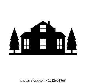 House silhouette with trees on white background