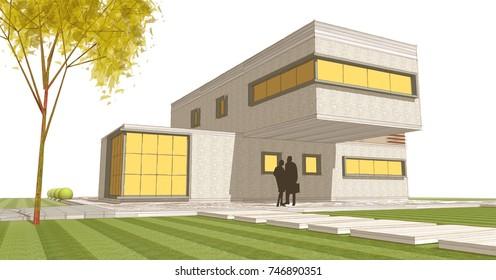 house sketch, building, 3d illustration