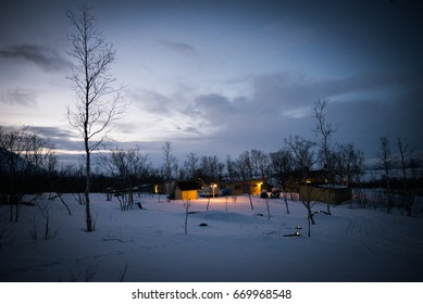 House in the snow of Abisko National Park, Lapland, Sweden