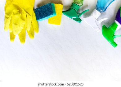 House spring cleaning concept. Cleaning products top view