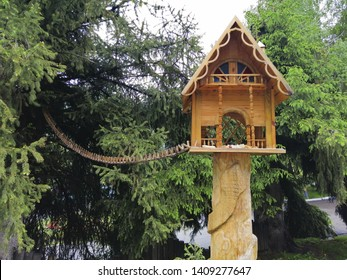 house for squirrels on the tree. bridge for squirrels.