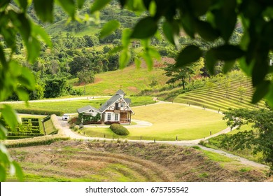 house surrounded by nature surrounded by mountains and trees. Feel the freshness without pollution. Dream house fog in morning