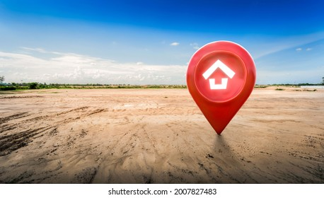 House symbol with location pin icon on empty dry cracked swamp reclamation soil in real estate sale or property investment concept, Buying new home for family - 3d illustration of big advertising sign