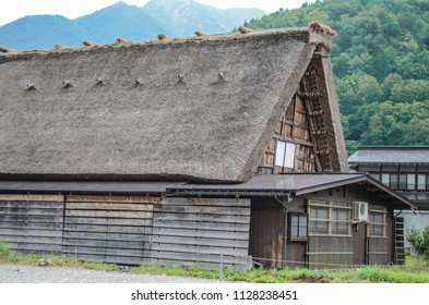 House with Traditional and Historical Japanese village. Shirakawago in Gifu, Japan in spring. Traditional folk village(Gassho-zukuri). This is traditionally thatched houses in Shirakawa-go.