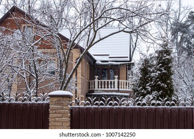 House with trees and firs in snow winter
