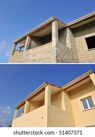 a house under construction before and after