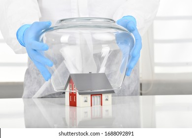 House under coronavirus quarantine concept.