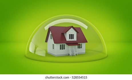 House under a Glass Shield, Protection Concept. 3d rendering