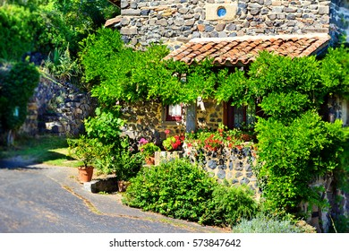 "House in Usson village in Auvergne region in south-central France. Usson is listed as one of the ""most beautiful villages of France""."