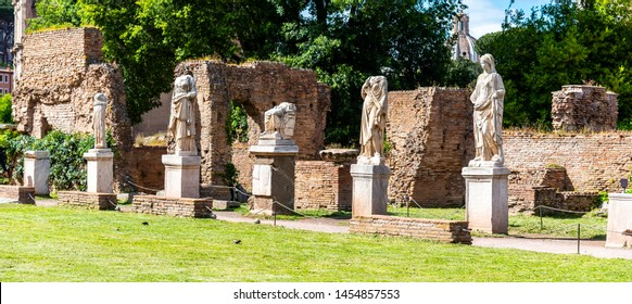 House of Vestal Virgins at Roman Forum, Rome, Italy.