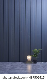House wall panels, modern interior empty room lamps and decorative objects