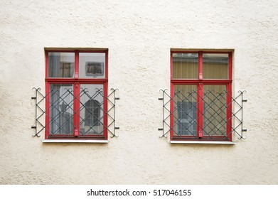House wall with red windows in Riga Latvia