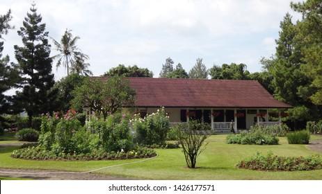 a house with western style in nusantara flower garden , cianjur, west java, indonesia. photo taken in june 2019