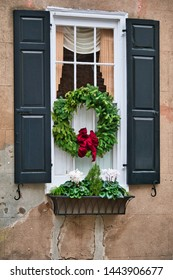 A House window in South Carolina decorated for Christmas