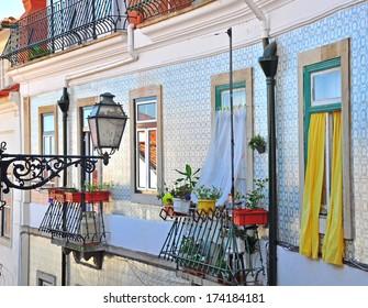 House windows. Lisbon Portugal