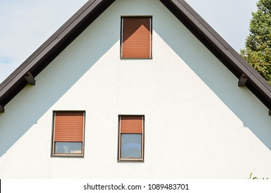 House windows with  rolling shutter