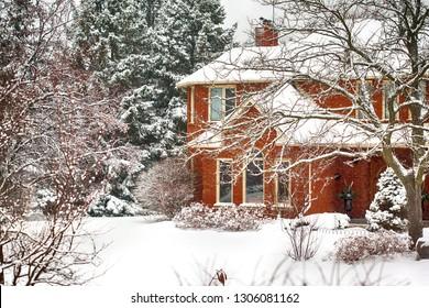 House in winter garden, Ontario, Canada