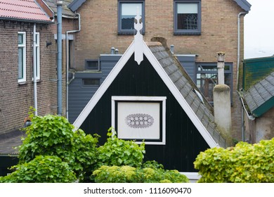 house with wooden facade in the traditional fisherman´s village of Urk, Netherlands