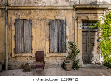 House with wooden shutters in St Remy de Provence, France