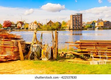 House in Zaanse Schans, quiet village in Netherlands