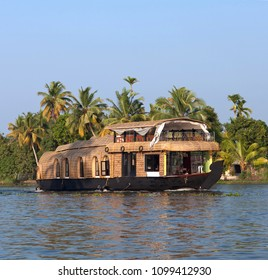 Houseboat on backwaters in Kerala state, South India