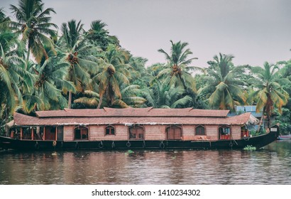 Houseboat on Kerala backwaters, in Alleppey, Kerala, India