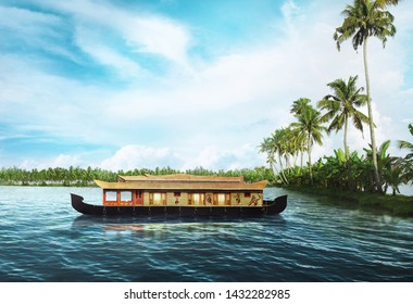 Houseboat on Kerala backwaters,kerala,india - IMAGE