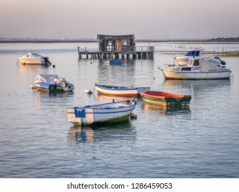 Houseboat in Sancti Petri, Chiclana de la Frontera, a tourist town in Cadiz province, in southern Spain,