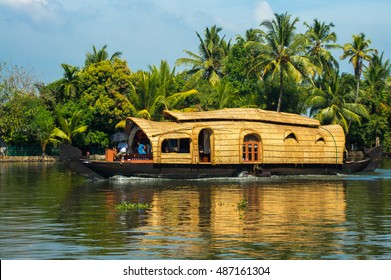A houseboat for tours in the Kerala backwaters, India