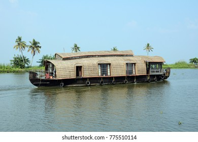 Houseboat in Vembanad Lake in Alappuzha (Alleppey), Kerala, India.
