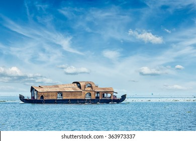 Houseboat in Vembanadu Lake, Kerala, India
