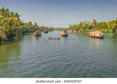 Houseboats in the backwaters at Alleppey in Kerala, India