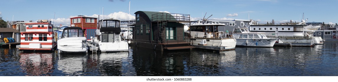Houseboats moored on Lake Union in Seattle, Washington