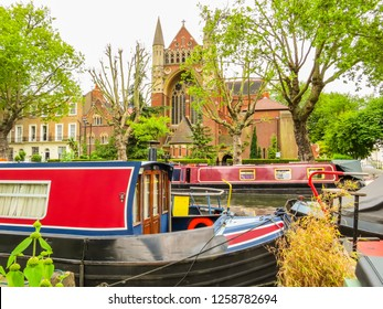 Houseboats on the Regent's Canal. Little Venice, London, United Kingdom