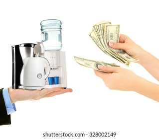 Household appliances  and money on hands- pawnshop concept