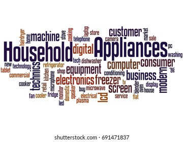 Household Appliances, word cloud concept on white background.