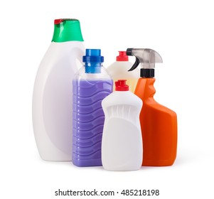 household chemicals isolated on white background