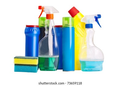 household chemicals isolated on white