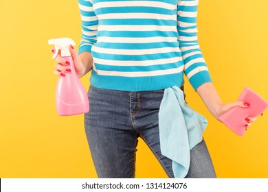 Household chores. Organized housewife. Woman holding atomizer and sponge with cloth in pocket.