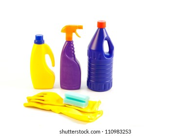 household cleaning equipment on a white background