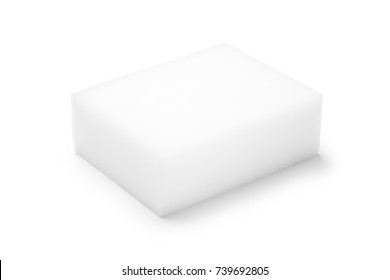 Household cleaning sponge on white background