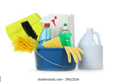 Household Cleaning Supplies in a Bucket on White Background