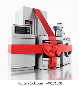 Household equipments wrapped with red ribbon. 3D illustration.