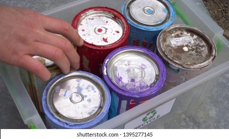 Household Hazardous Waste -Paint Disposal. Old paint cans recycle. Recycling latex and oil paints. Domestic Waste Collecting and Sorting